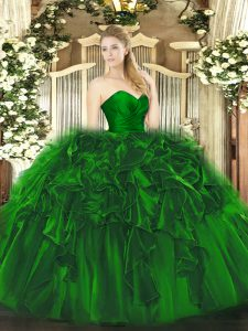 Floor Length Lace Up Sweet 16 Quinceanera Dress Dark Green for Military Ball and Sweet 16 and Quinceanera with Ruffles