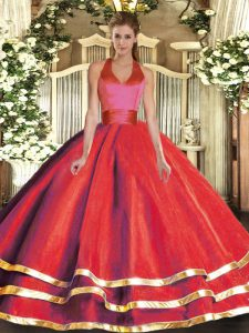 Halter Top Sleeveless Tulle Quince Ball Gowns Ruffled Layers Lace Up