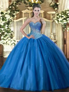 Sleeveless Tulle Floor Length Lace Up Ball Gown Prom Dress in Blue with Beading