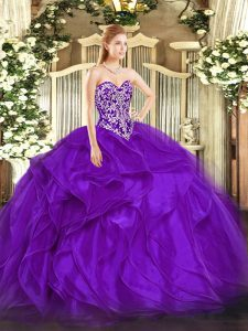 Adorable Purple Sleeveless Organza Lace Up 15th Birthday Dress for Military Ball and Sweet 16 and Quinceanera