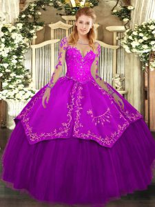 Floor Length Ball Gowns Long Sleeves Purple Vestidos de Quinceanera Lace Up