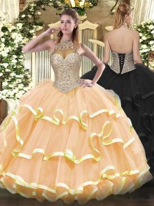 Super Beading and Ruffled Layers Sweet 16 Quinceanera Dress Peach Lace Up Sleeveless Floor Length