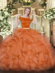 Orange Red Two Pieces Organza Off The Shoulder Short Sleeves Appliques and Ruffles Floor Length Zipper Ball Gown Prom Dress