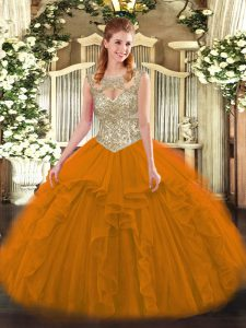 Orange Red Scoop Neckline Beading and Ruffles Quinceanera Gown Sleeveless Lace Up