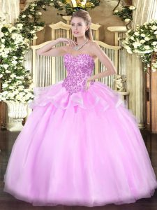 Sleeveless Lace Up Floor Length Appliques Sweet 16 Quinceanera Dress
