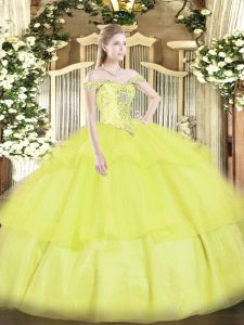 Eye-catching Yellow Ball Gowns Organza Off The Shoulder Sleeveless Beading and Ruffled Layers Floor Length Lace Up Sweet 16 Dress