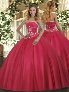 Shining Red Tulle Lace Up Strapless Sleeveless Floor Length Vestidos de Quinceanera Beading
