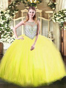 Scoop Sleeveless Zipper 15th Birthday Dress Yellow Green Tulle