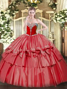 Sleeveless Lace Up Floor Length Beading and Ruffled Layers Sweet 16 Dress