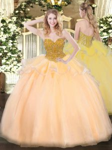 Charming Ball Gowns 15th Birthday Dress Orange Red Sweetheart Organza Sleeveless Floor Length Lace Up