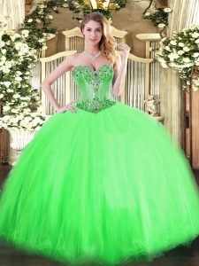 Sleeveless Tulle Lace Up Quince Ball Gowns for Sweet 16 and Quinceanera