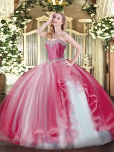 Floor Length Coral Red Vestidos de Quinceanera Sweetheart Sleeveless Lace Up