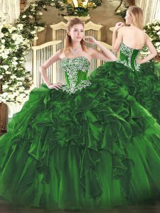 Ball Gowns Quince Ball Gowns Dark Green Strapless Organza Sleeveless Floor Length Lace Up