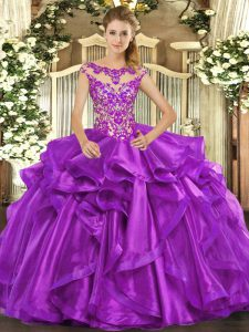 Custom Fit Eggplant Purple Ball Gowns Appliques and Ruffles Vestidos de Quinceanera Lace Up Organza Cap Sleeves Floor Length