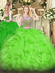 Sweet Organza Lace Up Quinceanera Dresses Sleeveless Floor Length Beading and Ruffles