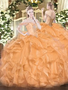 Orange Quinceanera Gowns Military Ball and Sweet 16 and Quinceanera with Beading and Ruffles Off The Shoulder Sleeveless Lace Up