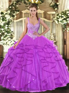 Popular Straps Sleeveless Tulle Quince Ball Gowns Beading and Ruffles Lace Up