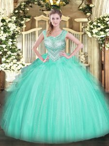 Beauteous Scoop Sleeveless Tulle Quinceanera Dress Beading Lace Up