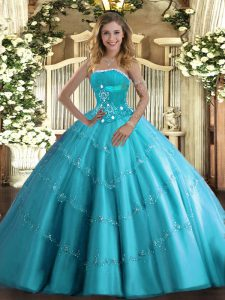 High Quality Floor Length Aqua Blue Quinceanera Gowns Tulle Sleeveless Beading and Appliques and Ruffled Layers