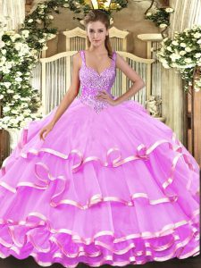 Custom Fit Sleeveless Floor Length Beading and Ruffled Layers Lace Up Quinceanera Dresses with Lilac