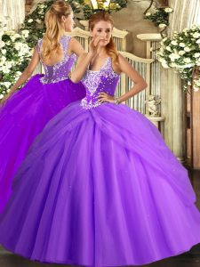 Edgy Lavender Quince Ball Gowns Military Ball and Sweet 16 and Quinceanera with Beading and Pick Ups Straps Sleeveless Lace Up