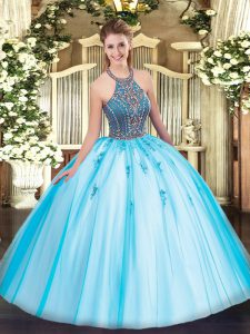 Aqua Blue Ball Gowns Halter Top Sleeveless Tulle Floor Length Lace Up Beading and Appliques 15 Quinceanera Dress