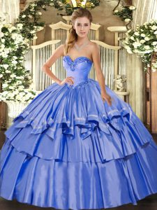 Blue Quinceanera Gowns Military Ball and Sweet 16 and Quinceanera with Beading and Ruffled Layers Sweetheart Sleeveless Lace Up