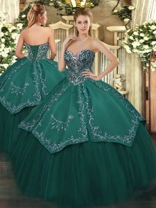 Attractive Taffeta and Tulle Sleeveless Floor Length Sweet 16 Dresses and Beading and Embroidery