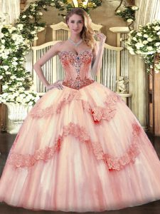 High End Lace Up Sweet 16 Quinceanera Dress Baby Pink for Sweet 16 and Quinceanera with Beading and Appliques