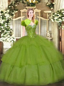 Artistic Olive Green Ball Gowns Sweetheart Sleeveless Tulle Floor Length Lace Up Beading and Ruffled Layers Quinceanera Gown