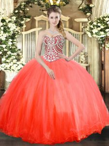Best Coral Red Ball Gowns Sweetheart Sleeveless Tulle Floor Length Lace Up Beading 15th Birthday Dress