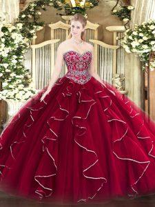 Beading and Ruffles 15th Birthday Dress Wine Red Lace Up Sleeveless Floor Length