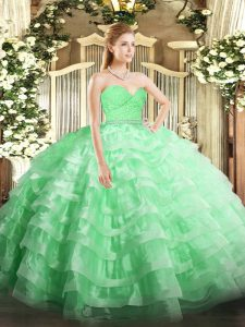 Cheap Apple Green Tulle Zipper Quinceanera Gowns Sleeveless Floor Length Beading and Lace and Ruffled Layers