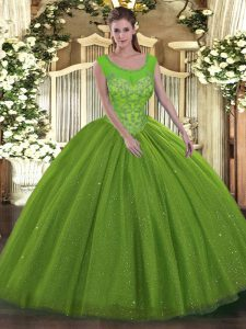 Sumptuous Floor Length Backless Quince Ball Gowns for Military Ball and Sweet 16 and Quinceanera with Beading