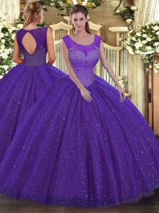 Floor Length Backless Sweet 16 Quinceanera Dress Purple for Military Ball and Sweet 16 and Quinceanera with Beading