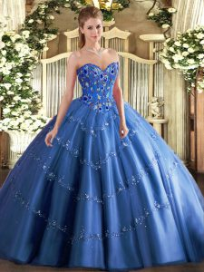 Sweetheart Sleeveless Quinceanera Gowns Floor Length Appliques and Embroidery Blue Tulle