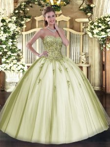 Luxury Olive Green Ball Gowns Sweetheart Sleeveless Tulle Floor Length Lace Up Beading Sweet 16 Dresses