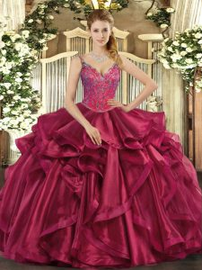 Most Popular Wine Red Straps Lace Up Beading and Ruffles Sweet 16 Dresses Sleeveless