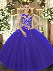 Scoop Cap Sleeves Sweet 16 Dress Floor Length Beading and Appliques Royal Blue Tulle