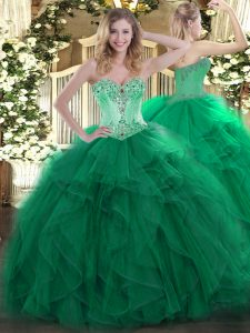 Noble Dark Green Lace Up Sweetheart Beading and Ruffles Quinceanera Gown Organza Sleeveless