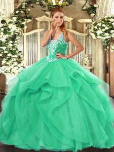 Floor Length Lace Up Quinceanera Dress Turquoise for Military Ball and Sweet 16 and Quinceanera with Beading and Ruffles