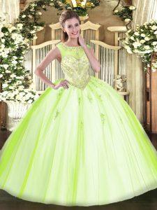 Scoop Sleeveless Zipper Vestidos de Quinceanera Yellow Green Tulle