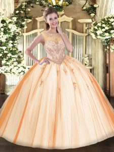 Chic Peach Ball Gowns Scoop Sleeveless Tulle Floor Length Zipper Beading and Appliques Ball Gown Prom Dress