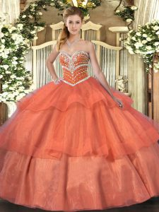 Floor Length Orange Red Sweet 16 Quinceanera Dress Sweetheart Sleeveless Lace Up