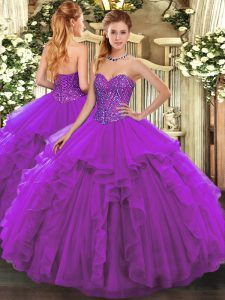 Floor Length Ball Gowns Sleeveless Eggplant Purple Quince Ball Gowns Lace Up