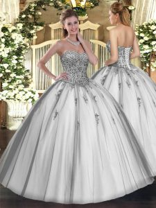 Floor Length Ball Gowns Sleeveless Grey Quinceanera Gowns Lace Up