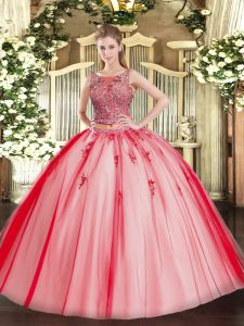 Delicate Tulle Scoop Sleeveless Lace Up Beading and Appliques 15 Quinceanera Dress in Coral Red