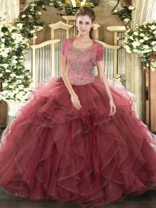Superior Floor Length Clasp Handle Quinceanera Dress Burgundy for Military Ball and Sweet 16 and Quinceanera with Beading and Ruffled Layers