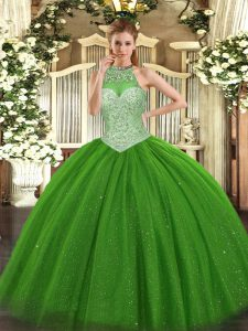 Graceful Halter Top Sleeveless Tulle Quinceanera Gowns Beading Lace Up