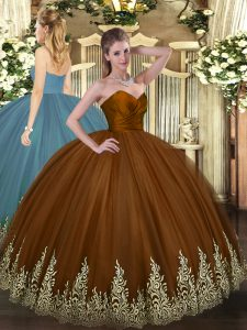 Sumptuous Floor Length Ball Gowns Sleeveless Brown Quinceanera Gown Zipper